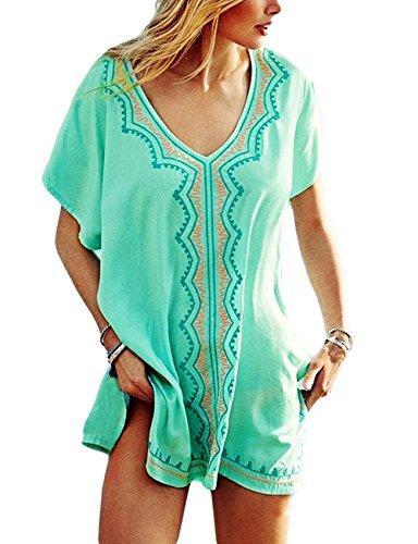 Bsubseach Rayon Embroidery Swimsuit Cover up Women Short Sleeve V Neck Beach Bikini Swimwear Top Dress Light ()