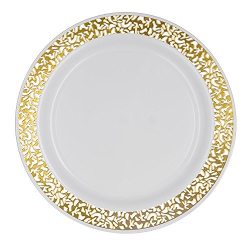 Amazon Com Party Joy âi Canât Believe Itâs Plasticâ 50 Piece Plastic Salad Plate Set Lace Collection Heavy Duty Premium Plastic Plates For Wedding Parties Camping More White W Gold Lace