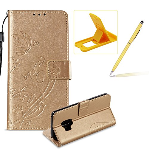 strap-case-for-samsung-galaxy-s9wallet-leather-cover-for-samsung-galaxy-s9herzzer-classic-elegant-gold-butterfly-pattern-pu-leather-fold-stand-card-holders-smart-phone-case