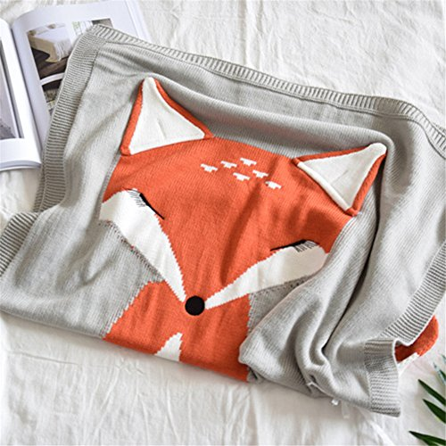 Animal Toy Crochet Pattern - Kid's Knitting Throw Blanket Fox Pattern Infant Crib Sleeping Cover Crochet Blanket for Children and Baby Napping or Playing (Light Grey)