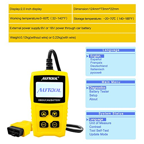 AUTOOL OBD2/EOBD Code Reader, CS330 Automative Diagnostic Code Scanner with Voltage Meter Car Engine Fault Code Reader with I/M Readiness for CAN OBD 12V SUV/Car/Van by AUTOOL (Image #5)