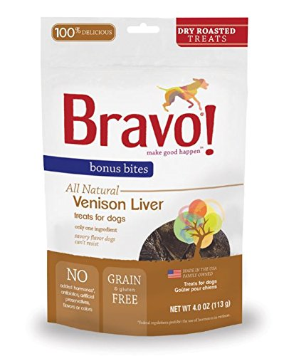 Bravo Bonus Bites Dry Roasted Venison Liver Pet Treats - 4 oz.