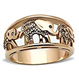 FlameReflection Elephant Rings Stainless Steel Yellow Crystal Women's Engagement Promise Ring SPJ