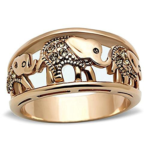 FlameReflection Elephant Rings Stainless Steel Yellow Crystal Women's Engagement Promise Ring SPJ by FlameReflection