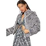 Enjoy-Sexy Grey Solid Zipper Up Elegant Winter Faux Fur Teddy Coat Women Warm Thick Casual Outerwear,Gray,S