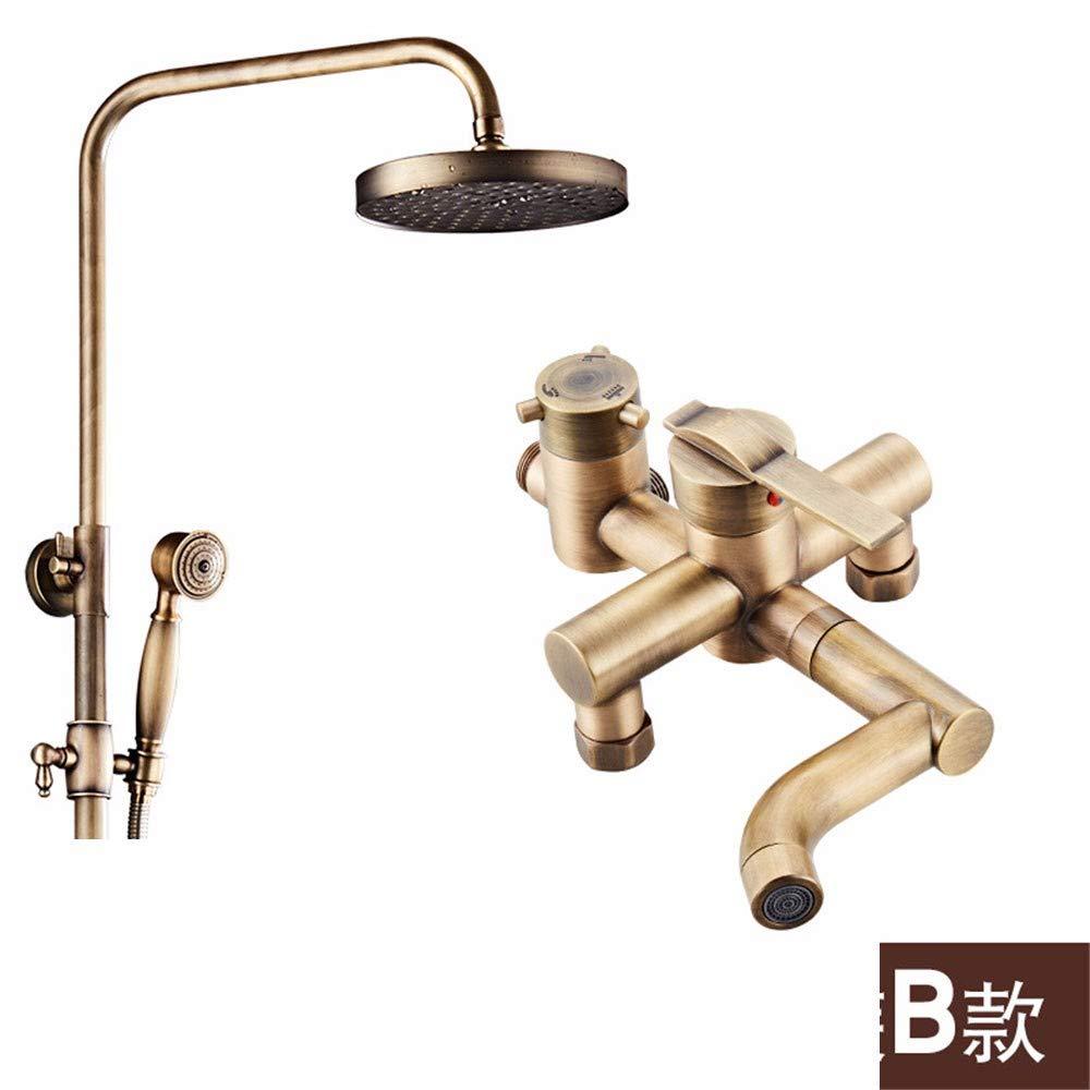 B Weacp Shower European Antique Shower Set Retro hot and Cold Simple Simple Shower Set Copper, A