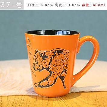 Good quality cup La taza de cerámica hogar creativo taza personalizada taza de café retro bebida de avena simple una taza de té, naranja rojo 37: Amazon.es: ...