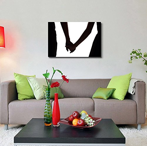 Silhouette of Two Lovers Hold Hands Together Romantic Lover Wall Decor
