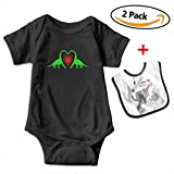 Robprint Heart Dinosaur Couple Baby Boys' Essentials Short-Sleeve Bodysuits Rompers