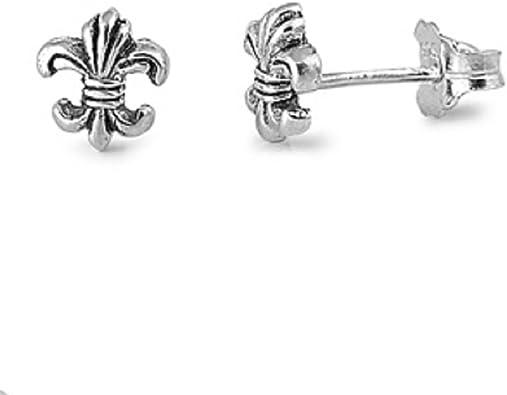 Sterling Silver Fluer De Lis Tiny Stud Earrings