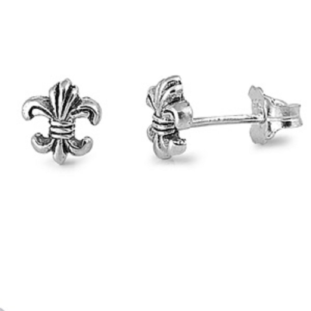 Sterling Silver Fleur De Lis Stud Earrings by CloseoutWarehouse (Image #1)