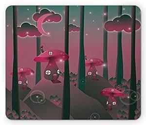 Mushroom Mouse Pad by Lunarable, Mystical Magic Landscape Hills Trees Mushroom Houses Crescent Moon Night Sky, Standard Size Rectangle Non-Slip Rubber Mousepad, Jade Green Pink