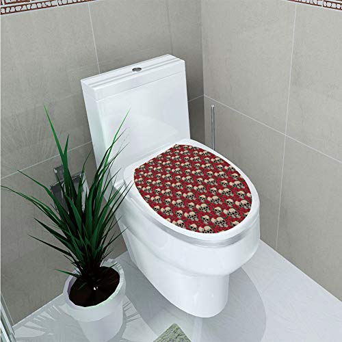 Toilet Cover Sticker 3D Printing,Rose,Graphic Skulls and Red Rose Blossoms Halloween Inspired Retro Gothic Pattern,Vermilion Tan Green,for You -