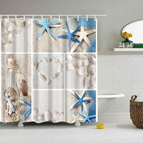 Sun 180 Caps (HiSoho Morning-sunshine 70.86 X 70.86 Inch Nautical Shower Curtains Sea World Starfish Shell Shower Curtain- - Water, Soap, and Mildew Resistant - Machine Washable Bathroom Decor Curtains)