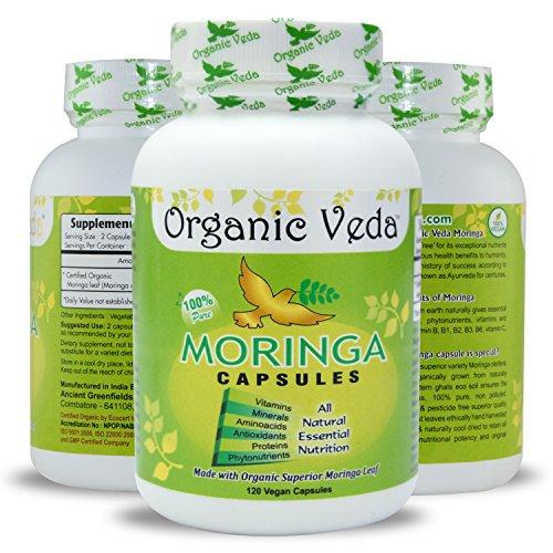 Organic Moringa Powder 120 Veg Capsules. 100% Pure and Natural Raw Herbal Dietary Super Food Supplement. Non GMO, Gluten FREE. US FDA Registered Facility. Kosher Certified Vegetarian Capsule. All Natural