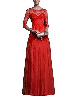 Vestidos Largos Elegante Manga Larga Para Mujer Encaje Cuello Redondo Fiesta Coctel Maxi Vestido