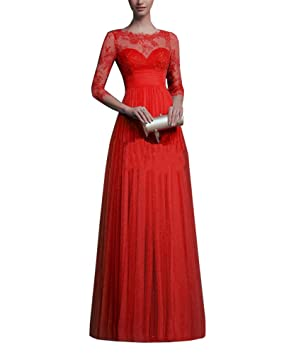 Vestidos Largos Elegante Manga Larga para Mujer Encaje Cuello Redondo Fiesta Coctel Maxi Vestido Rojo S