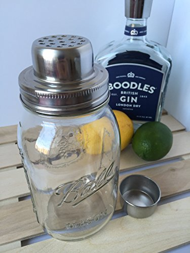Mason Jar Cocktail Shaker - Includes Classic 32oz (Quart) Ball Mason Jar - Stainless Steel Shaker Lid & No Leak Silicon Seal