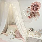 Jeteven White Lace Dome Bed Canopy Kids Play Tent Princess Mosquito Net Home Decor Height 250cm/98.4in