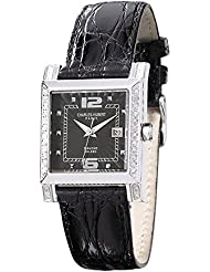 Ladies 0.42ct. Dia. Bezel Black 29x28mm Dial Watch by Charles Hubert Paris Watches, Best Quality Free Gift Box