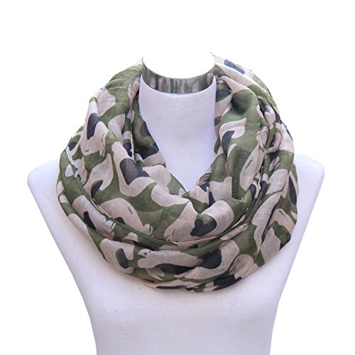 Lucky Leaf Women Lightweight Cozy Infinity Loop Scarf with Various Artist Print (Camouflage Amry Green)