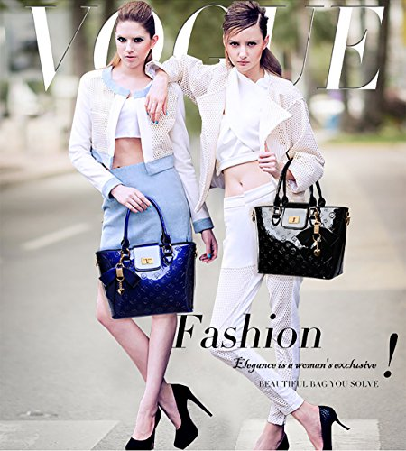 Nicole&Doris Las nuevas mujeres / señoras bolso bolso de asas de la patente de cuero de la PU en relieve de alta calidad Brillante Negro Azul