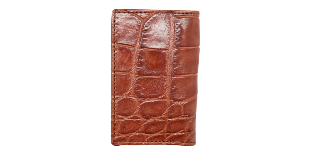 Cognac Genuine Millennium Alligator Gusseted Business/Credit Card Case Wallet – Alligator Inside and Out - Brown & Cognac - Factory Direct Made in USA by Real Leather Creations FBA302 by Real Leather Creations (Image #5)