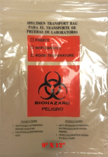 SNL Quality Biohazard 'Double Pocket' Specimen Zip Lock Style Bags - 9'' X 12'' (Pack of 100 Bags) by SNL