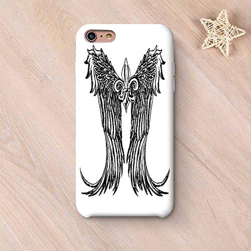 Medieval Wear Resisting Compatible with iPhone Case,Tribal Wing Design Magic Spell Middle Ages Symbol of Power Artistic Design Compatible with iPhone 7/8,iPhone 6 Plus / 6s Plus