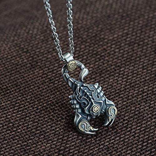 ESCYQ Vintage 925 Sterling Silber Anhänger,Vintage Kreative Scorpion-Förmige Thai Silber Handwerk Silber Anhänger Einfach Atmosphäre Ohne Kette Geburtstag Geschenk Fashion Halskette Zubehör Valenti