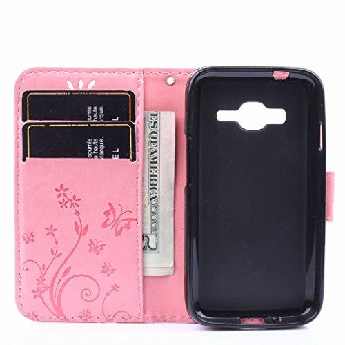 Yiizy Samsung Galaxy J1 Mini Prime / J106F Custodia Cover, Erba Fiore Design Premium PU Leather Slim Flip Wallet Cover Bumper Protective Shell Pouch with Media Kickstand Card Slots (Rosa)