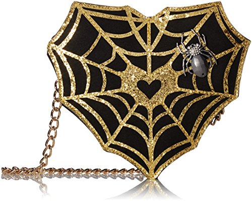 Halloween Purses - Betsey Johnson Kitsch Webmaster Crossbody Bag, Gold, One Size