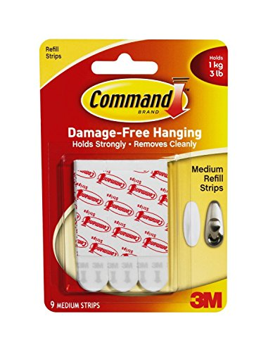 9 Replacement Strips - Command Medium Mounting Refill Strips, 9-Strip , Pack of 4