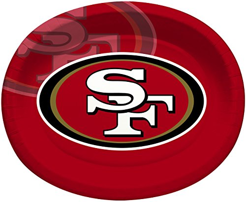 Creative Converting Officially Licensed NFL Oval Paper Platters, 8-Count, San Francisco 49ers (Francisco 49ers San Paper)