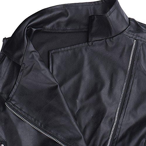 Giacca Vestiti Abbigliamento Donna Autunno In E Sottile Sintetica Inverno nbsp;misure Ragazze Maniche 4 Zip Black Jacket Pu Outwear Con Pelle Donne Motociclista Up Senza Moda Punk Cool aHgdwg