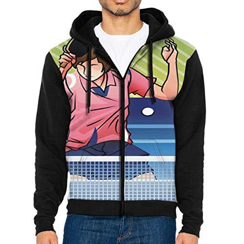 Men Hoodie Table Tennis Player in Action Unique Full Zip with Pocket Sweatshirt Lightweight Halloween -