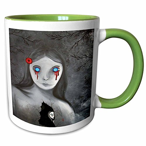 (3dRose Dooni Designs Halloween Designs - Bleeding Eyes Goth Gothic Halloween Design - 15oz Two-Tone Green Mug)