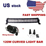 Primeprolight 120W LED Light Bar 24inch Curved Combo Beam Car Light with Wiring Harness for Off Road High Power ATV Jeep 4x4 Tractor off Road Light Fog Driving Bar Rree Truck SUV Car