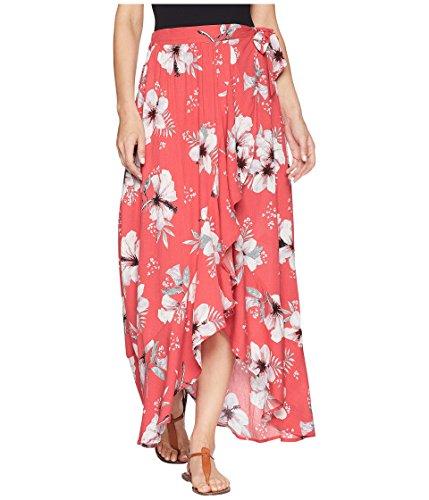 Jack by BB Dakota Junior's Kaliyah Floral Printed Wrap Skirt, Hibiscus Red, Small