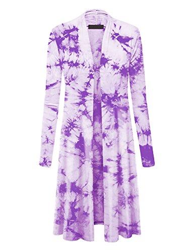 WSK1078 Womens Lightweight Tie Dye Open Long Maxi Cardigan XXXL White_Purple