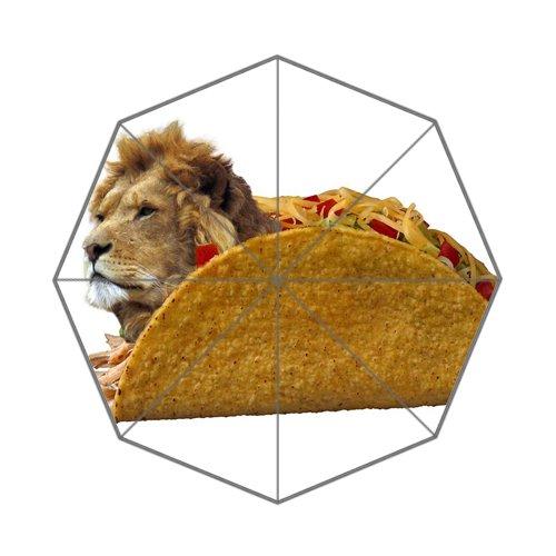 ライオン肉Tacosアートカスタムユニークな耐久性カスタム折りたたみ式傘   B07D21CXHZ