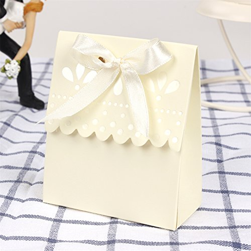Hoxekle 12Pcs Small Wedding Favor Box Candy Box Scalloped-Edge Ivory Wedding Party Sweets Favour Candy Gift Box ()