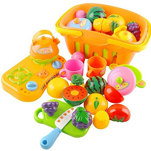 14 Piece Kids Pretend Play Food Kitchen Cooking Playset Educ