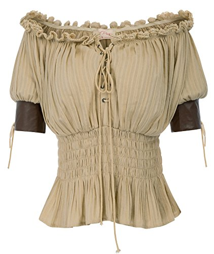 Belle Poque Lady Steampunk Gothic Blouse Shirt Renaissance Peasant Off Shoulder Top BP581-2 XL Kaki]()