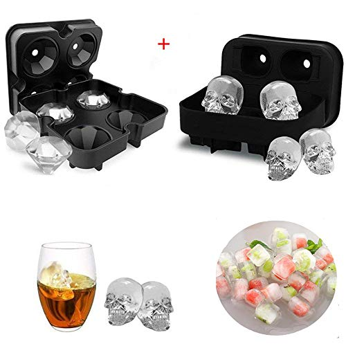 WETONG Ice Cube Trays For Whiskey/Cocktail/Beverages, 3D Skull + Diamond-Shaped Large Silicone Ice Cube Molds Makes 4 Giant Skulls and 4 Diamond Ice Molds (black)