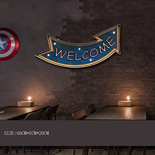 LOFT Retro Industrial Bar Cafe Creative Instruction Iron LED Wall Lamp American Restaurant Club Road Sign Welcome DIY Logo Cartoon Font Wall Light (6 Styles) (Design : C) (Sconce Iron Weeks)