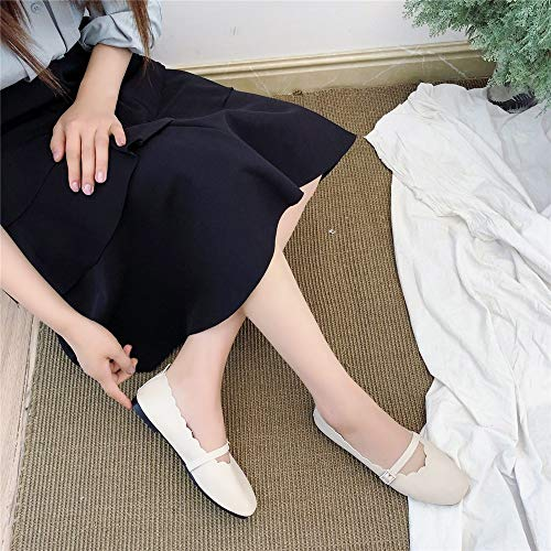 Fibbia Testa Mocassini Singole Bassa Crema Da Quadrata Donna Incinte Scarpe Color Bocca Donne HWBwT