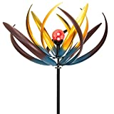 Best Choice Products 75'' Solar Multi-Color Tulip Wind Spinner Solar Powered Glass Ball Emits Color Changing Light
