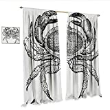 excellent edible garden design Crabs Waterproof Window Curtain Seafood Themed Design Vintage Engraved Illustration of an Edible Crab Print Waterproof Window Curtain W72 x L108 Black and White.jpg