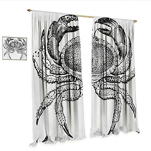 Crabs Waterproof Window Curtain Seafood Themed Design Vintage Engraved Illustration of an Edible Crab Print Waterproof Window Curtain W72 x L108 Black and White.jpg
